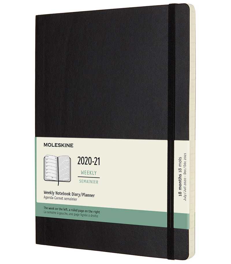 Moleskine 2020-2021 18 Month Soft Cover Diary Weekly Notebook Extra Large Black - Pencraft the boutique