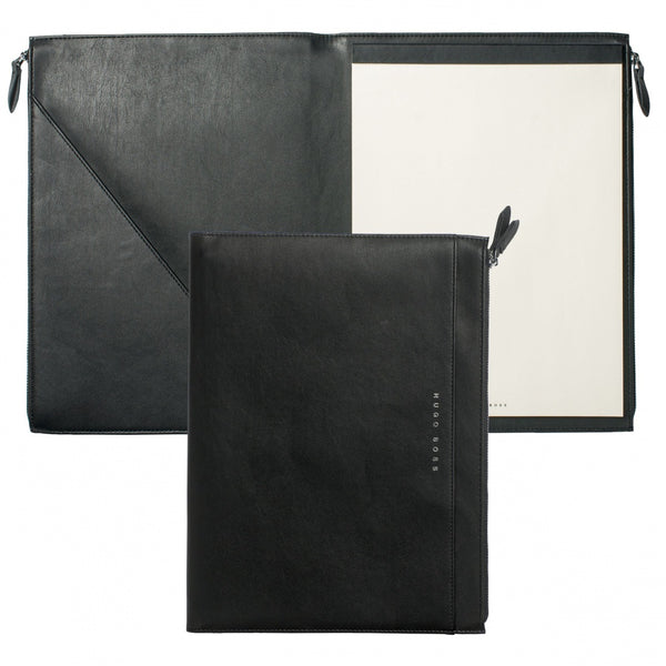 Hugo Boss Stripe Soft Black Conference Folder A4 - Pencraft the boutique