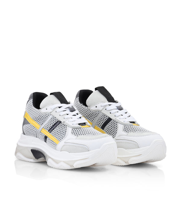 Shoe Biz Pale Sneaker Grey / Orange / Neon Yellow / Black / White
