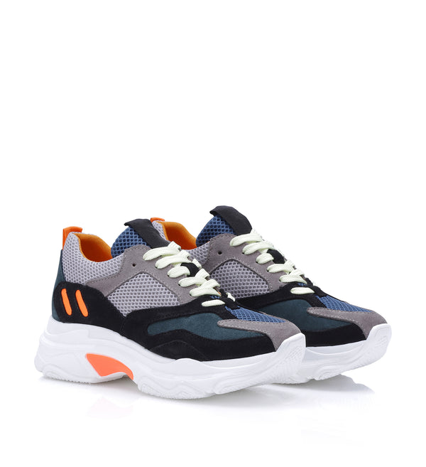 Shoe Biz Pilou Sneaker Taupe / Dark Green / Petrol / Neon Orange / White