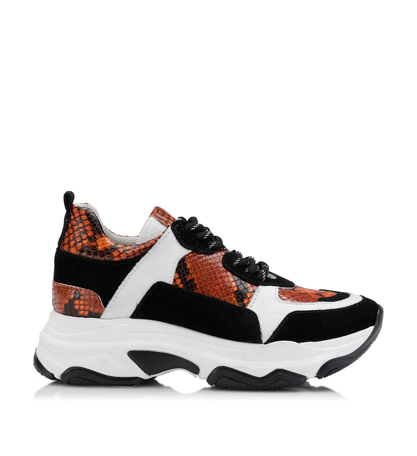 Shoe Biz Rad Snake Sneaker Orange / White / Black