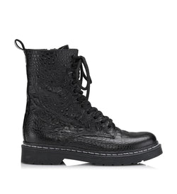 Shoe Biz Klara Croco Short Boot Black