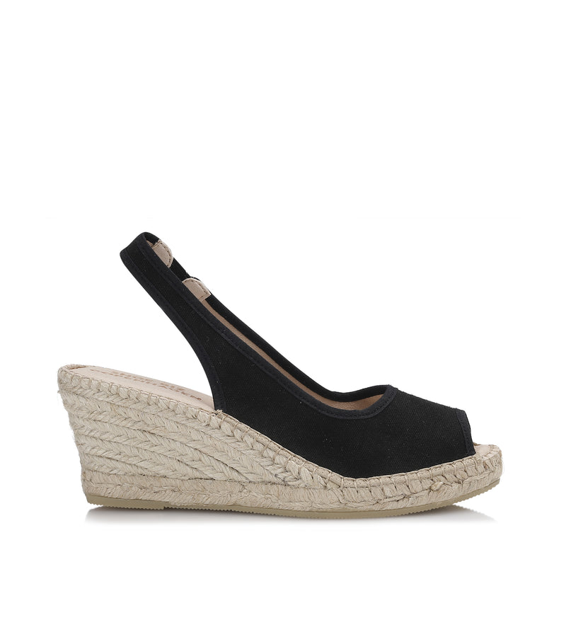 Shoe Biz Freya 5 Rows Canvas Espadrilla Black