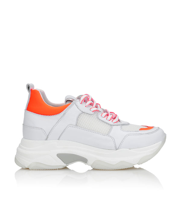 Shoe Biz Rad Neon Orange Mix Sneaker White / Neon Orange