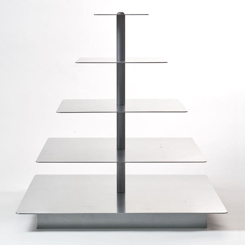 5 Tier Silver Square Cupcake Stand Rental