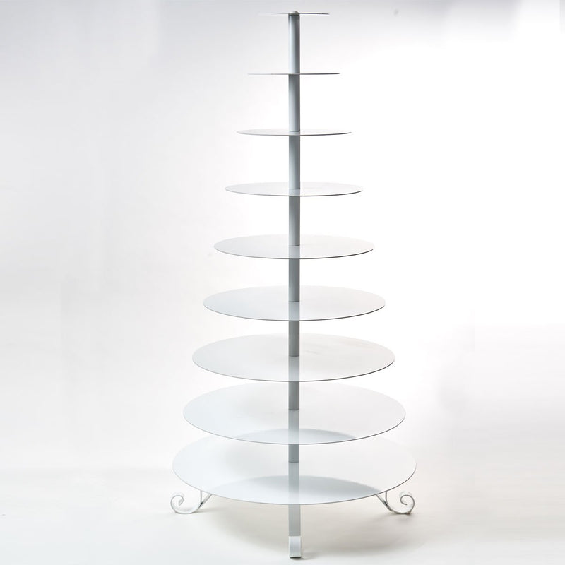 9 Tier White Cupcake Stand Rental