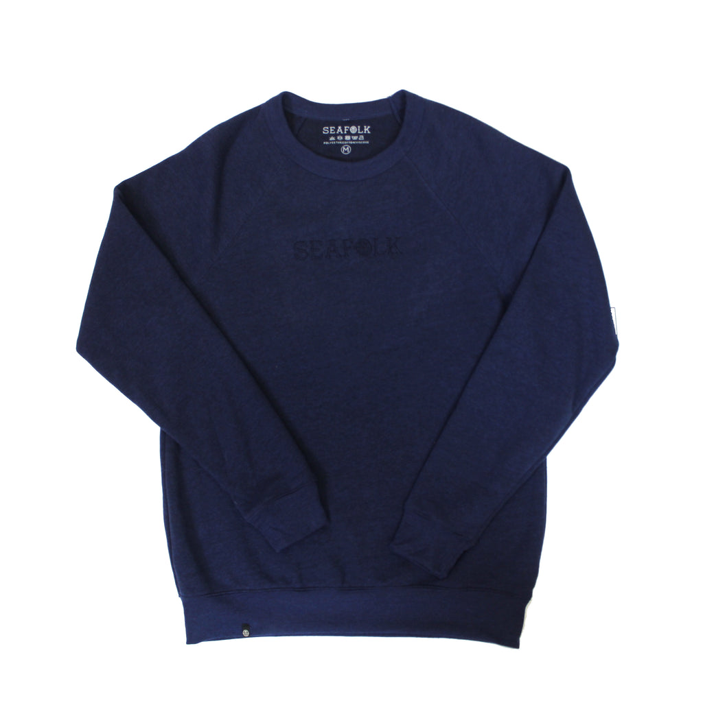 Stretch Fleece - Crew Neck - Navy - Embroidered