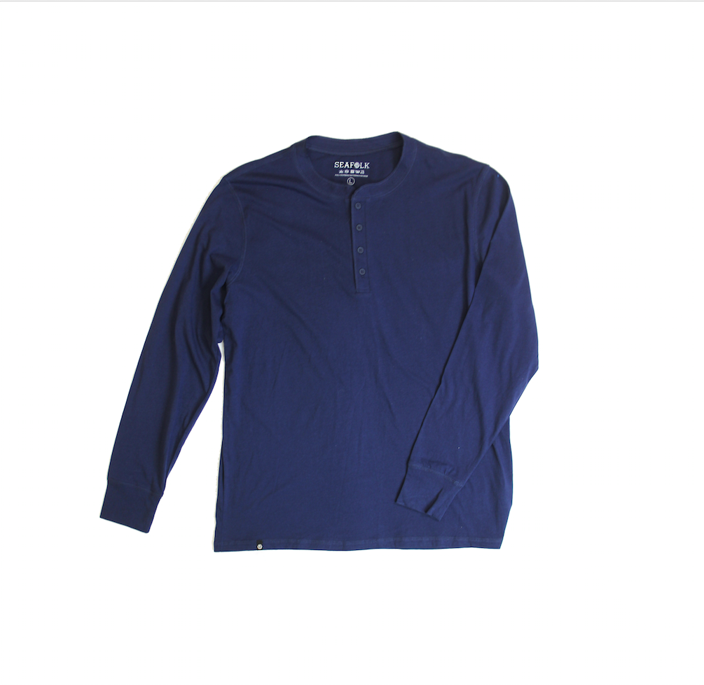 Henley Long Sleeve Tee - Navy