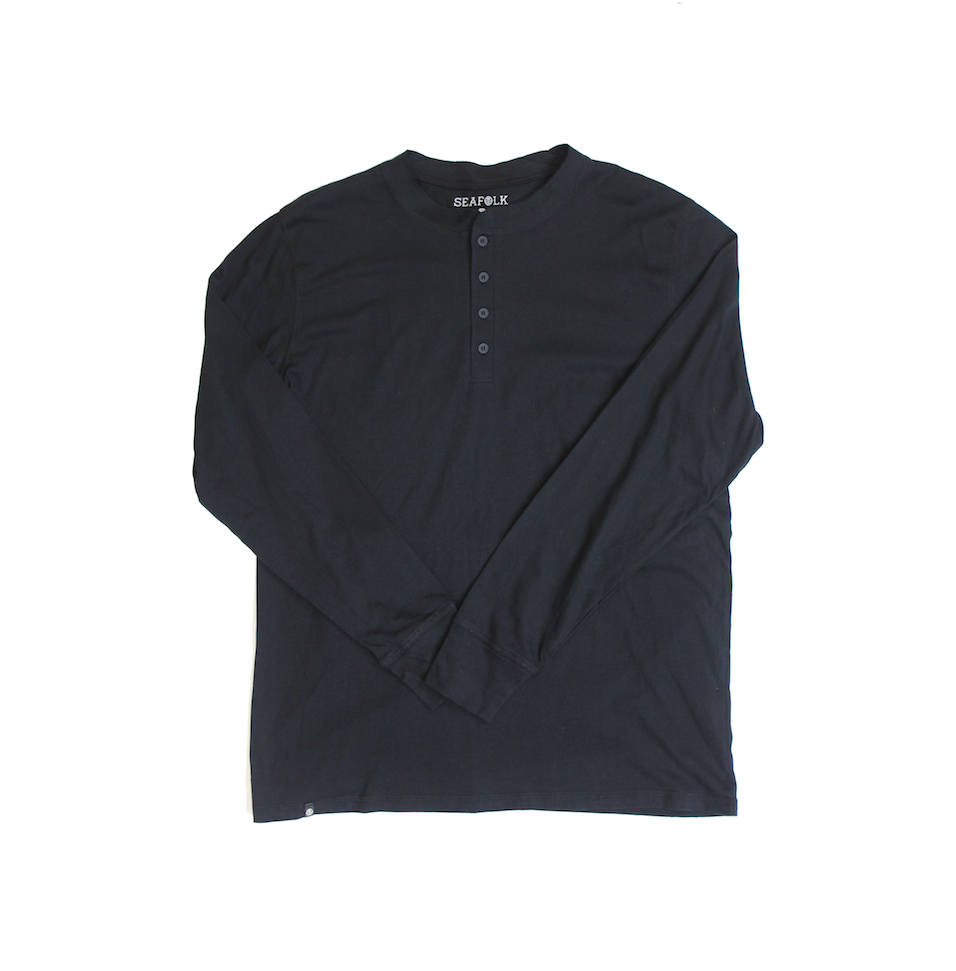 Henley Long Sleeve Tee - Black