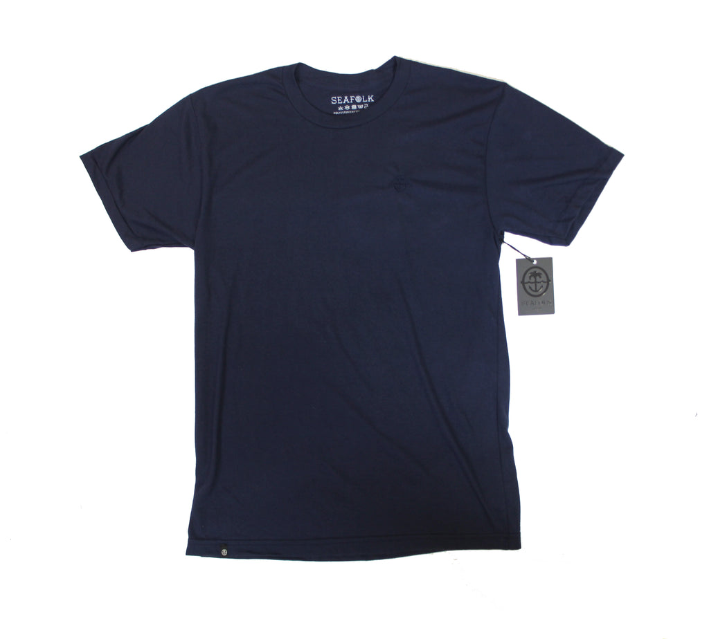 Palm & Anchor Embroidered Crew Neck Tee - Navy