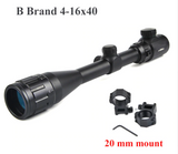 Optical Scope with 2 Free Mounts: (3-9X40, 4-16X40, & 6-24X50)