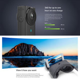 Panoramic 360-VR Camera Dual-Lens 5.7K HI Resolution Camera with Electronic Image Stabilization, 4K in-Camera Stitching