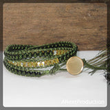 Green and Amber Triple-Wrap Bracelet