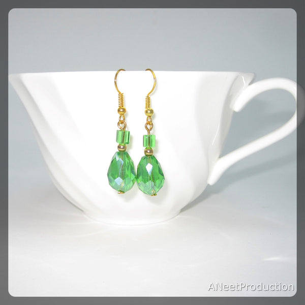 Green Czech Crystal Earrings
