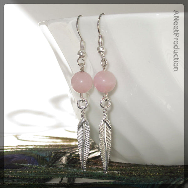 Pink Jade & Feather Earrings