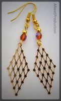 Gold-plated Filigree Topaz Earrings