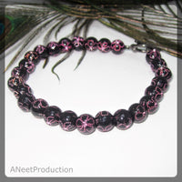Black and Pink Flower Bracelet