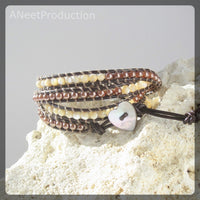 Semi-Precious Mother of Pearl and Cocoa Pearl Four-Wrap Bracelet