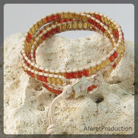 Orange and Yellow Triple-Wrap Bracelet