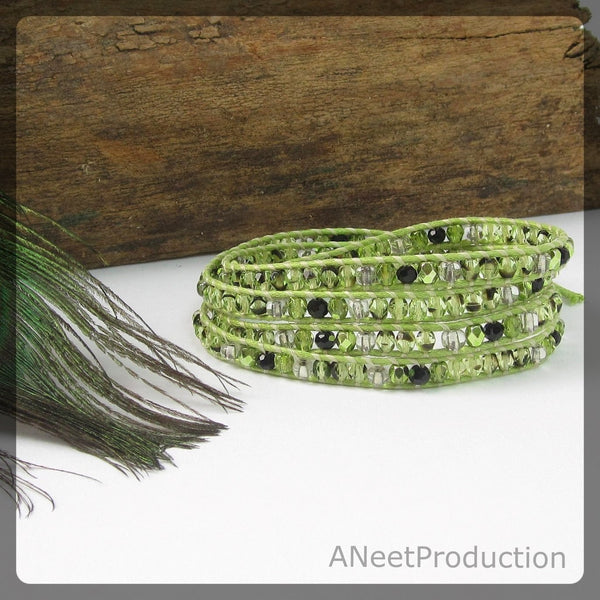 Green and Black Four-Wrap Bracelet