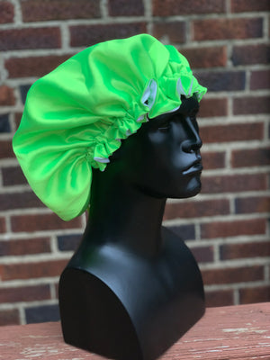 """Lime Green"" Silk Bonnet"