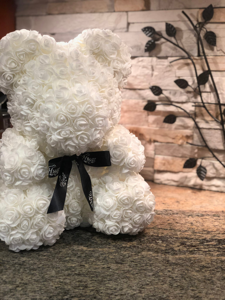 Hugz Rose Flower Bear -16 inch Fully Assembled - Valentines Day Gift (White) - w/Clear Gift Box