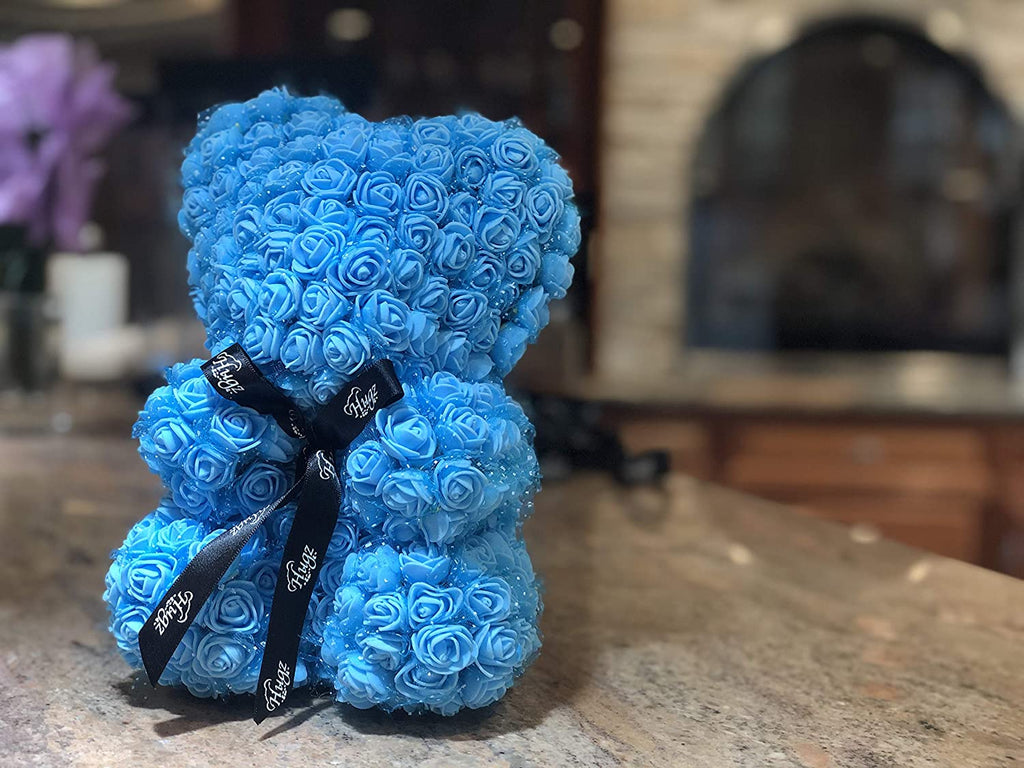 Hugz Rose Flower Bear -10 inch Fully Assembled - Valentines Day Gift (Blue) - w/Clear Gift Box