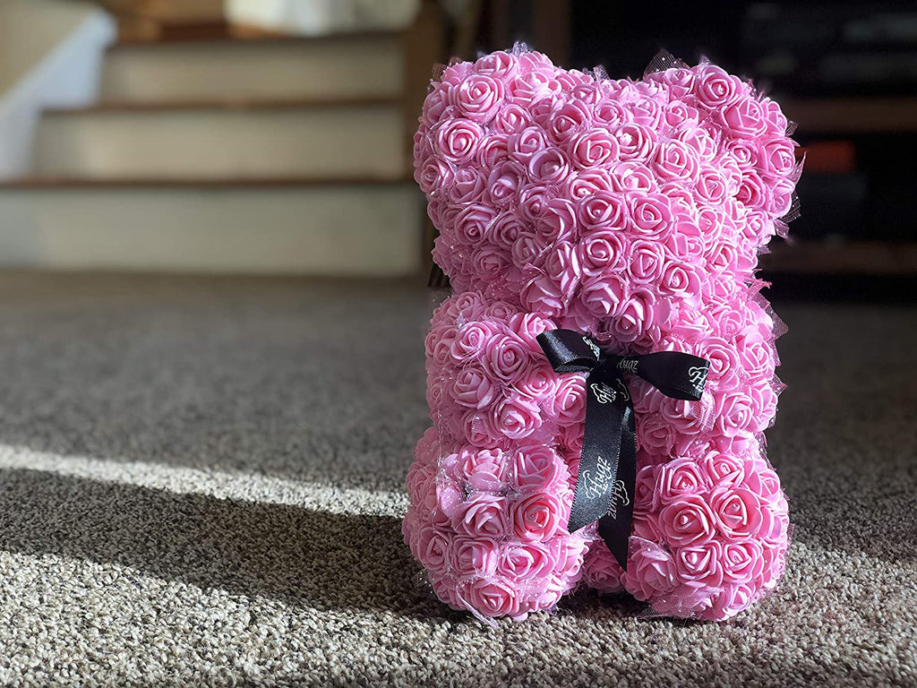 Hugz Rose Flower Bear -10 inch Fully Assembled - Valentines Day Gift (Pink) - w/Clear Gift Box