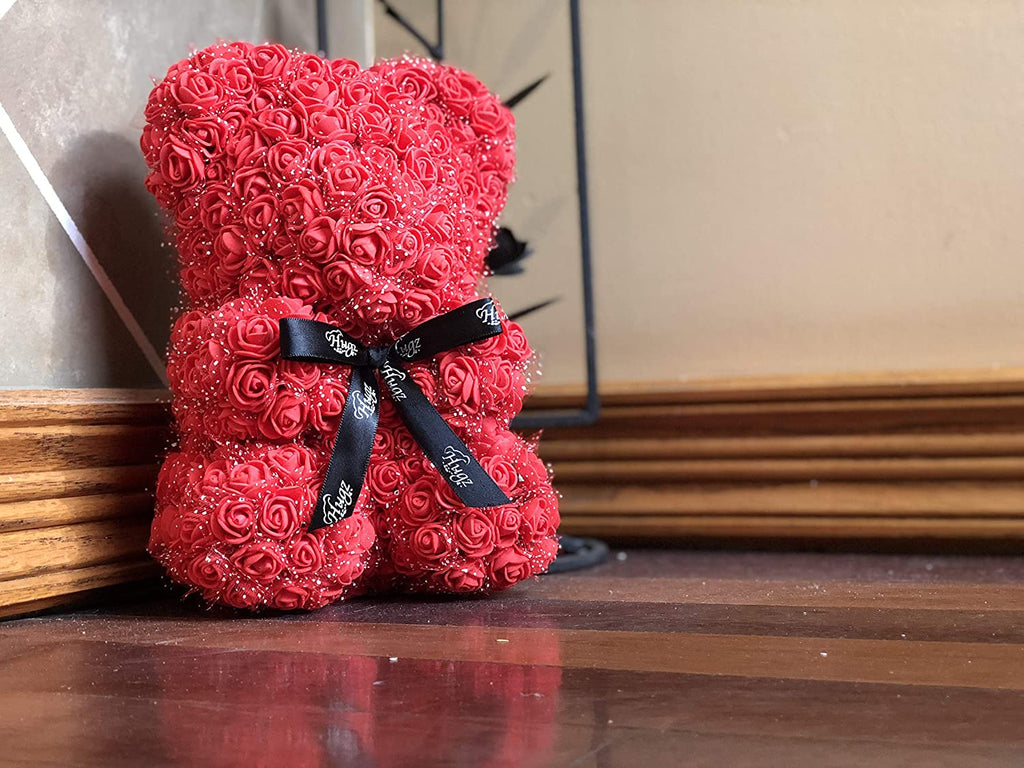 Hugz Rose Flower Bear -10 inch Fully Assembled - Valentines Day Gift (Red) - w/Clear Gift Box