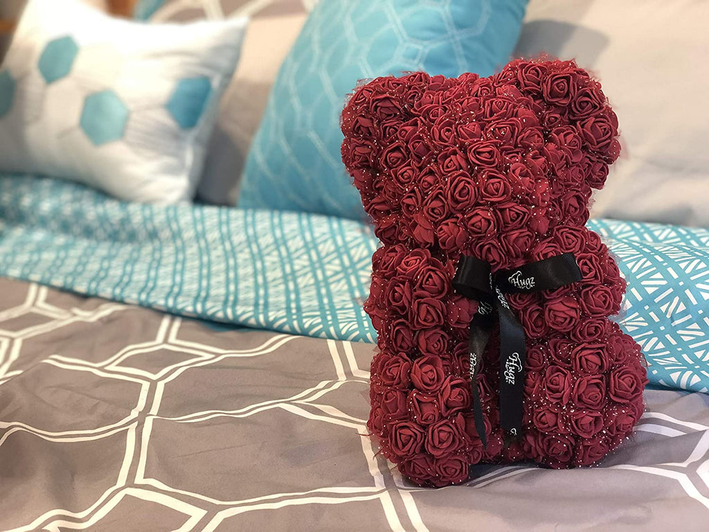 Hugz Rose Flower Bear -10 inch Fully Assembled - Valentines Day Gift (Wine Red) - w/Clear Gift Box