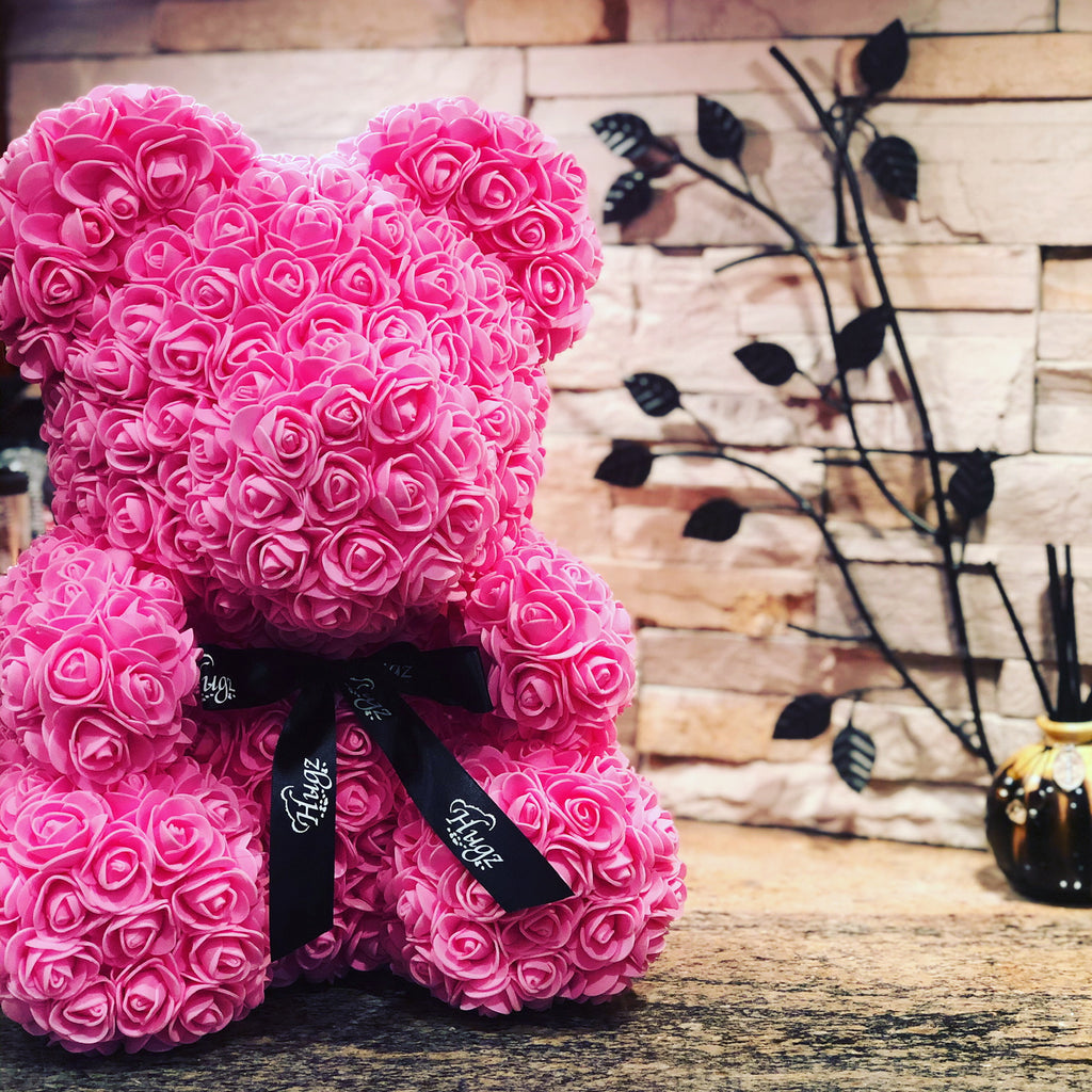 Hugz Rose Flower Bear -16 inch Fully Assembled - Valentines Day Gift (Pink) - w/Clear Gift Box
