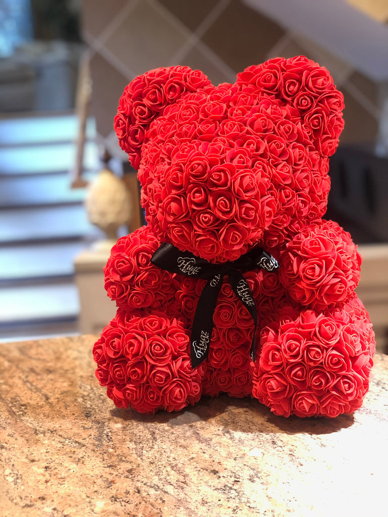 Hugz Rose Flower Bear -16 inch Fully Assembled - Valentines Day Gift (Red) - w/Clear Gift Box