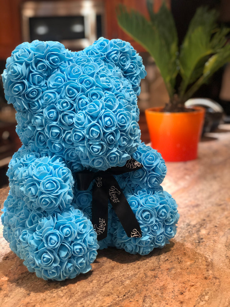 Hugz Rose Flower Bear -16 inch Fully Assembled - Valentines Day Gift (Blue) - w/Clear Gift Box