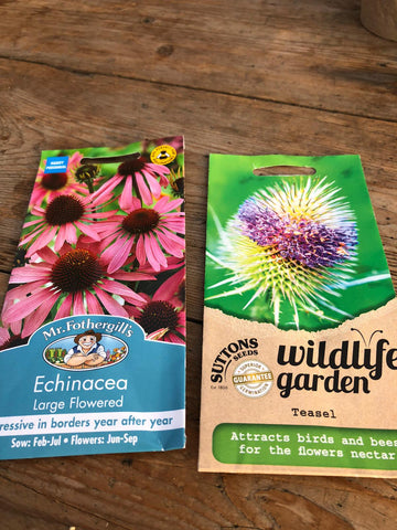Echinacea and teasel seed packs