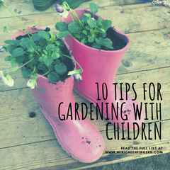 10 tips for gardening with children background image of pink wellies with violas