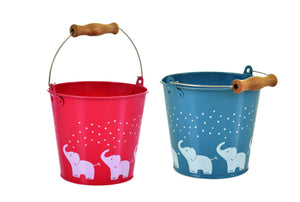 Egmont red and blue bucket for children with white elephants motif