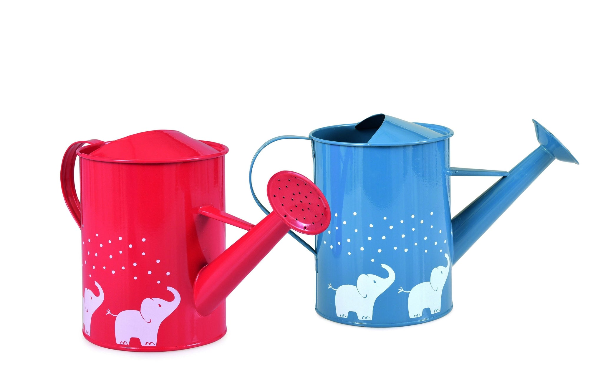 Egmont red and blue watering cans for children with white elephants motif