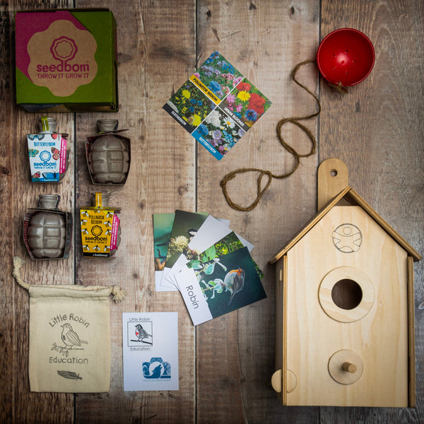 Layout of  of Birds Home-Builder gift set content including build your own nesting box, garden birds flashcards, birds bees and butterflies seedbom and bird feeder