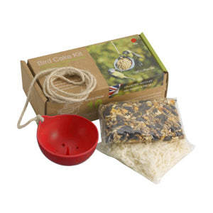 ashortwalk recycled plastic bird cake feeder in red with seed and suet packs