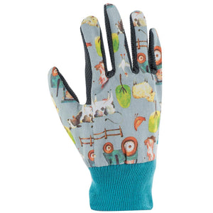 Front of Blackfox farmer children gardening gloves in blue