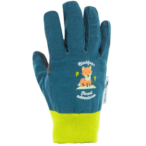 Blackfox blue cotton children's gardening gloves with fox design in various sizes