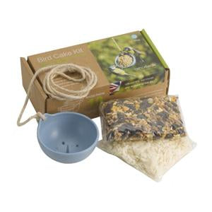 ashortwalk recycled plastic bird cake feeder in blue with seed and suet packs