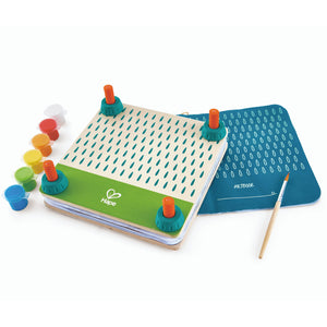 Hape flower press with booklet, paint brush and small pots of colour