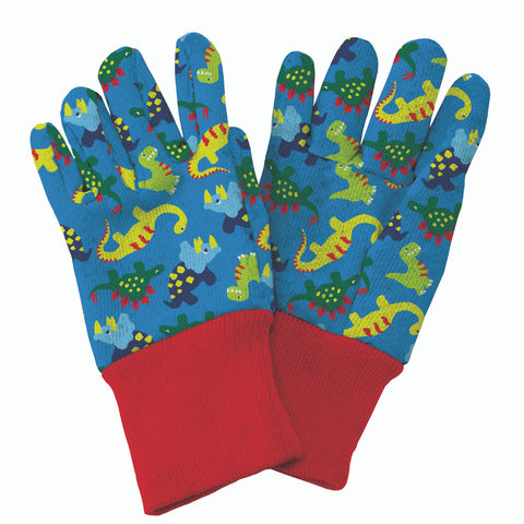 Kent and Stowe kids gardening gloves with dinosaur design in blue and red