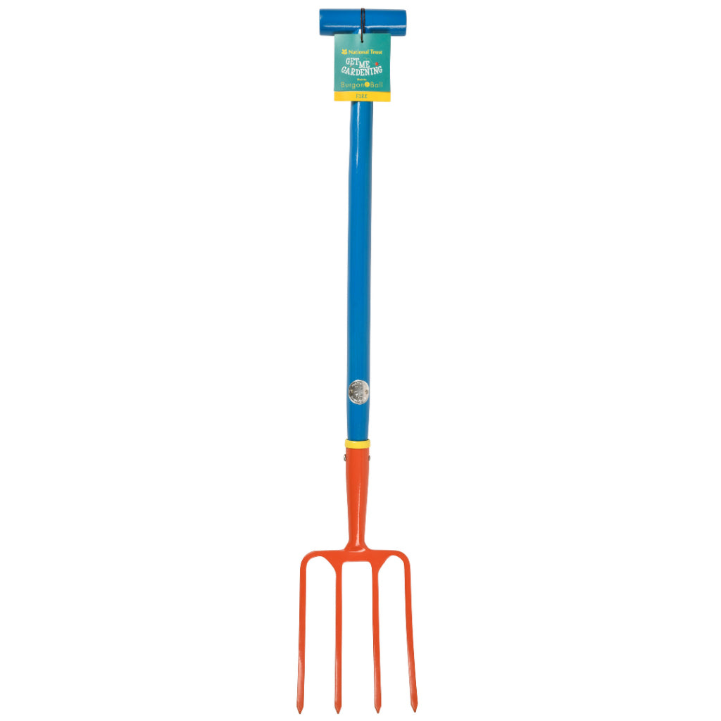 National Trust children gardening digging fork with label