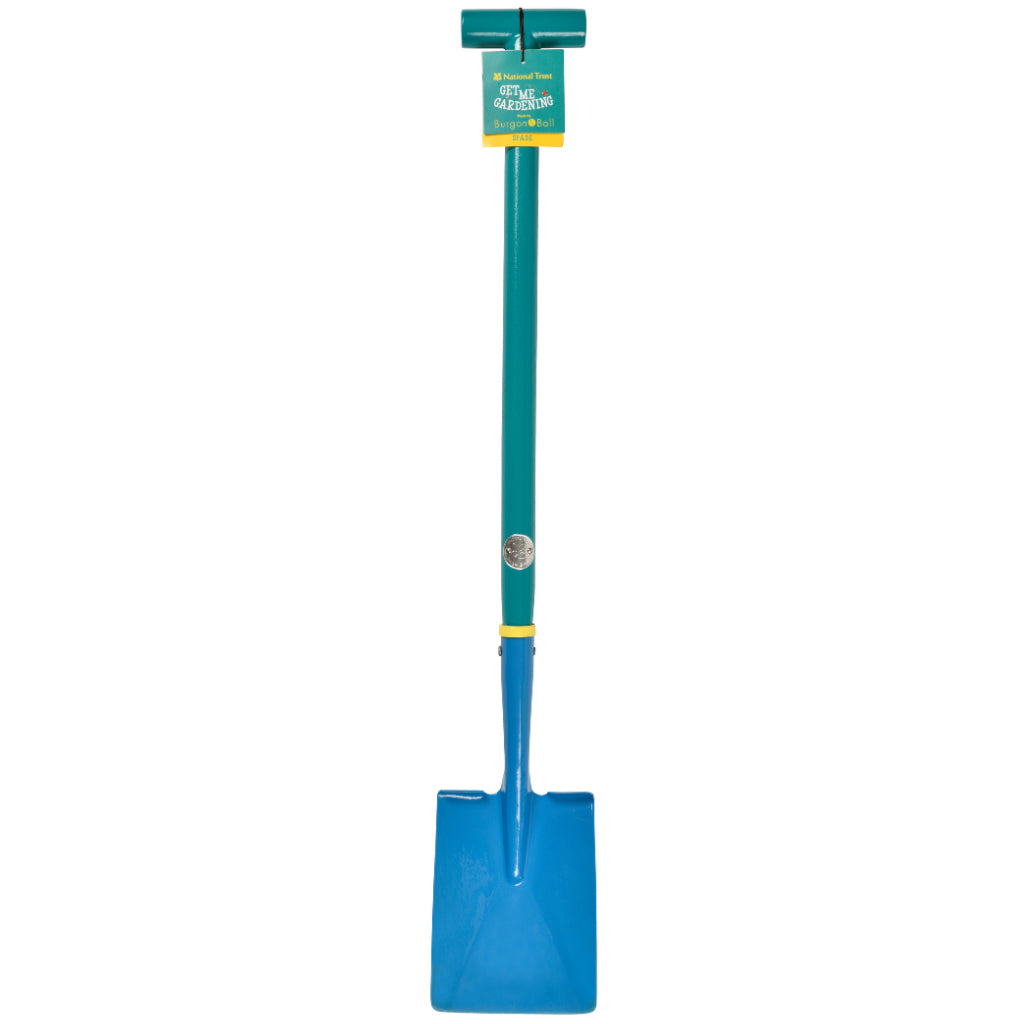 National Trust children gardening digging spade with label