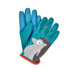National Trust green and blue children gardening gloves with hedgehog from Burgon & Ball