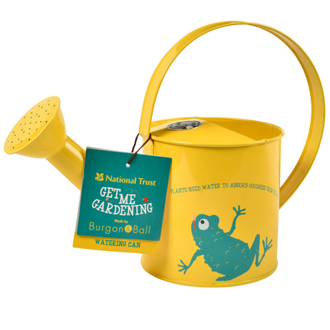 Front of National Trust yellow kids watering can with leaping frog