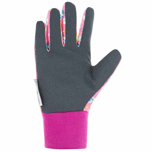 Palm of Blackfox Pink children's gardening gloves with woodland design