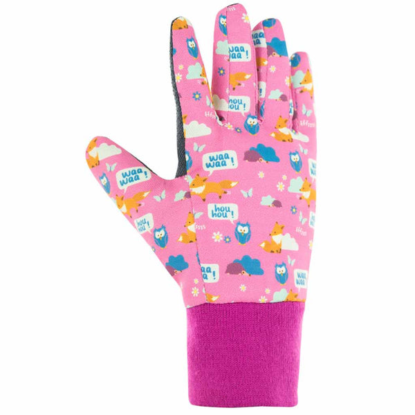Top of Blackfox Pink children's gardening gloves with woodland design